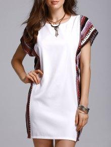 Printed Loose Round Neck Bat-Wing Sleeve Dress - White Xl
