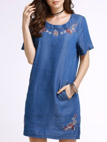 Embroidery Denim Dress With Pocket - Ice Blue