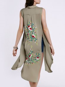 Buy High Slit Sleeveless Floral Embroidery Shirt Dress - PEA GREEN S
