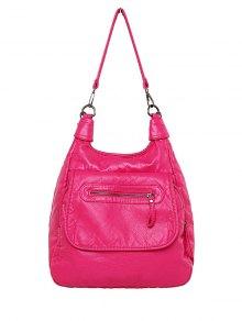 Zip PU Leather Solid Color Shoulder Bag - Rose Madder