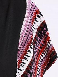 Printed Loose Round Neck Bat-Wing Sleeve Dress - BLACK 2XL