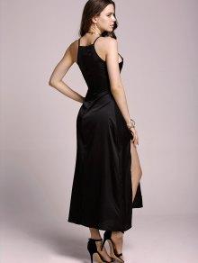 High Slit Spaghetti Straps Solid Color Dress - BLACK M