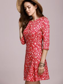 Tiny Floral Keyhole Neckline Dress - RED S