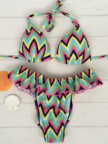 Zig Zag Halter Flouncing Bikini Set