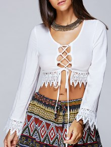 Lace Up Long Sleeve Cropped Blouse