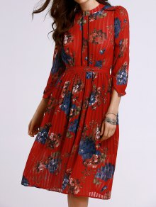 Waisted Stand Neck Pleated Floral Print Dress - Jacinth