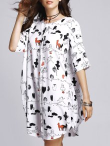 Horse Print Round Neck Half Sleeve Dress - M