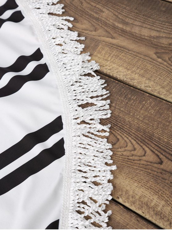 Striped Round Beach Throw - WHITE AND BLACK ONE SIZE(FIT SIZE XS TO M) Mobile