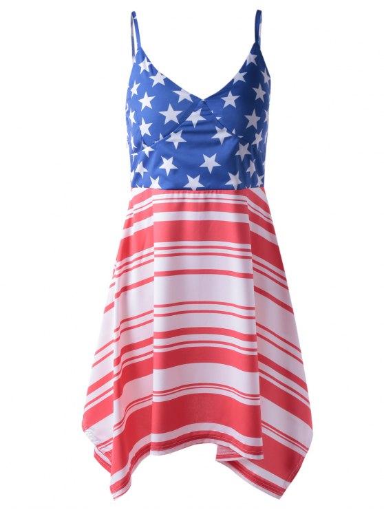 Vestido de moda de la bandera americana de impresión del tirante de espagueti asimétrica para la mujer - Rojo+Blanco+Azul XL