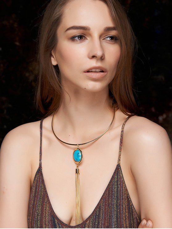 lady Faux Turquoise Round Tassel Necklace - BLUE