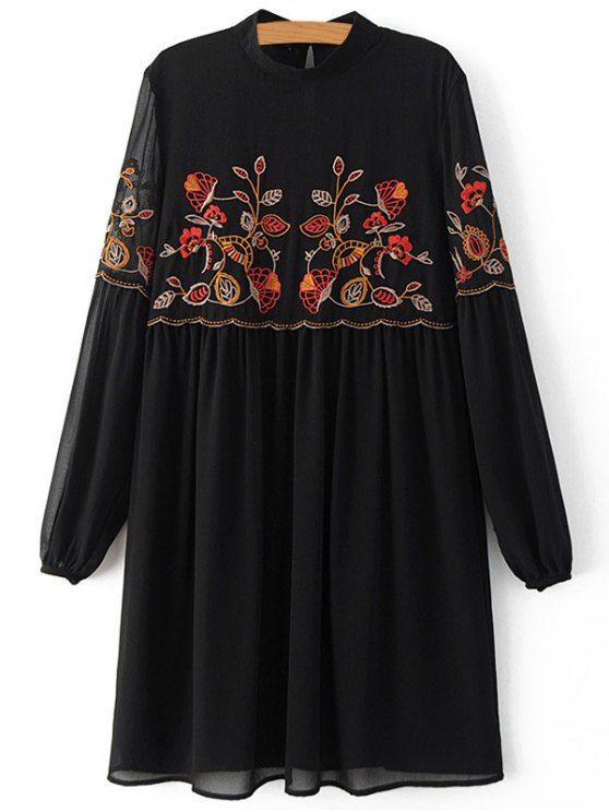 fancy Floral Embroidery Stand Collar Lantern Sleeve Dress - BLACK L