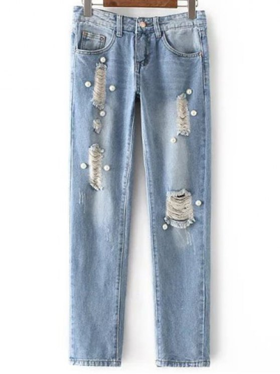 sale Beading Mid Waisted Ripped Jeans - LIGHT BLUE XL