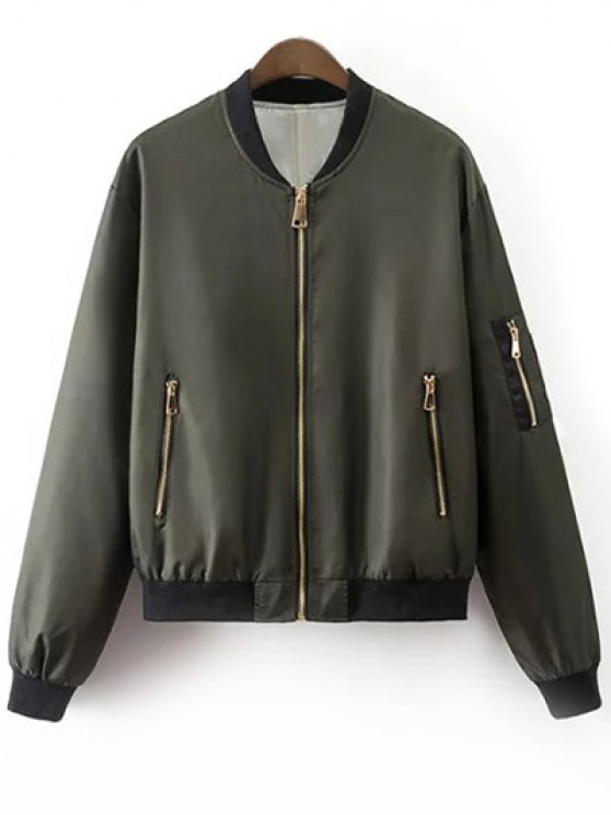 trendy Zipper Up Stand Neck Long Sleeve Jacket - ARMY GREEN M