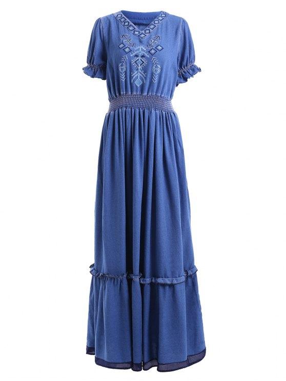 chic Denim Bohemian V Neck Short Sleeve Maxi Dress - BLUE M
