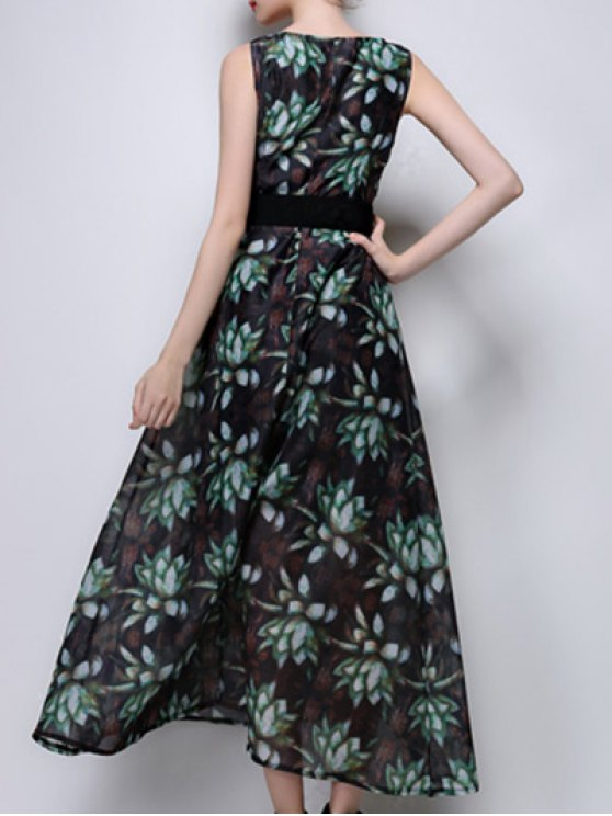 Floral Print Maxi Chiffon Dress - GREEN M Mobile