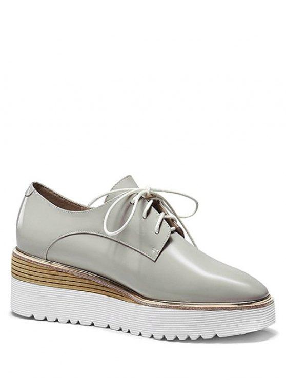 latest Patent Leather Square Toe Platform Shoes - GRAY 38