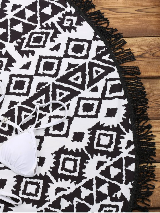Geometric Print Beach Throw - WHITE AND BLACK ONE SIZE(FIT SIZE XS TO M) Mobile
