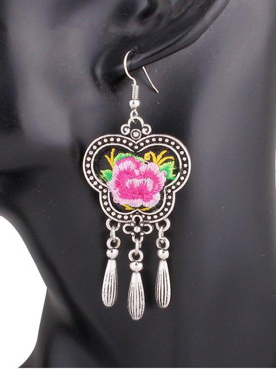 sale Flower Embroidery Fringe Earrings - PINK
