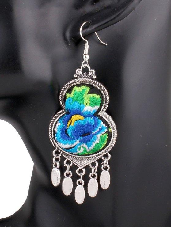 Pendientes de calabaza flor del bordado - Azul