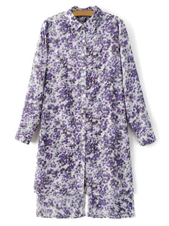 trendy High Low Hem Tiny Floral Print Shirt Dress - LIGHT PURPLE M