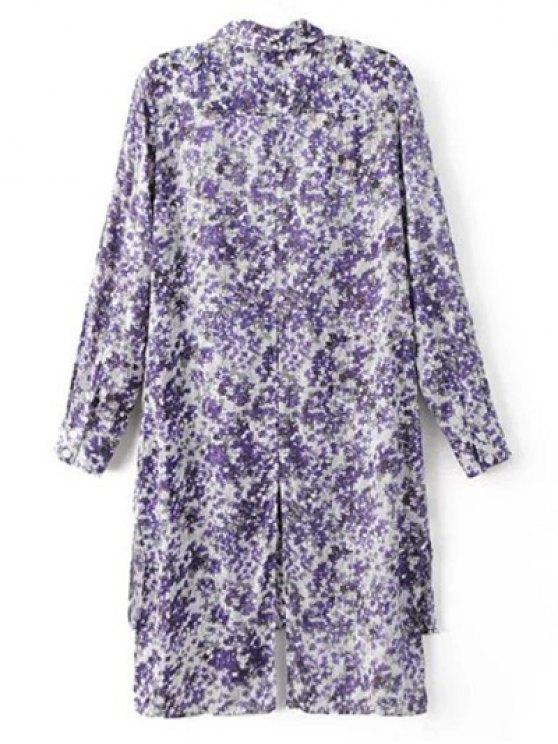 High Low Hem Tiny Floral Print Shirt Dress - LIGHT PURPLE M Mobile