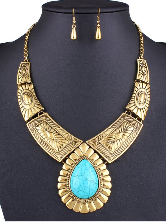 new Faux Turquoise Teardrop Necklace and Earrings - GOLDEN