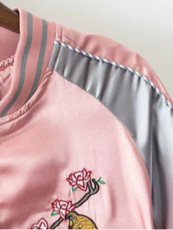 Glossy Embroidered Souvenir Jacket - PINK M Mobile