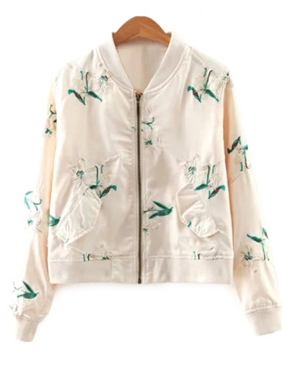 unique Long Sleeve Floral Embroidery Stand Neck Jacket - OFF-WHITE S
