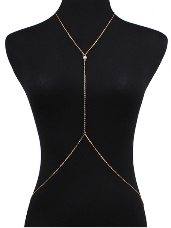 Faux Pearl Crossed Body Chain - GOLDEN  Mobile