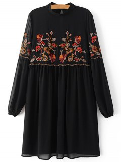 Floral Embroidery Stand Collar Lantern Sleeve Dress - Black S