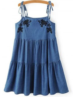 Floral Embroidery Spaghetti Straps Denim Dress - Blue S