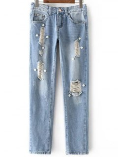 Beading Mid Waisted Ripped Jeans - Light Blue L