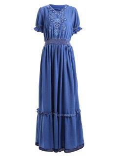Denim Bohemian V Neck Short Sleeve Maxi Dress - Blue S