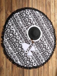 Serviette De Plage Imprimé Géométrique - Blanc Et Noir