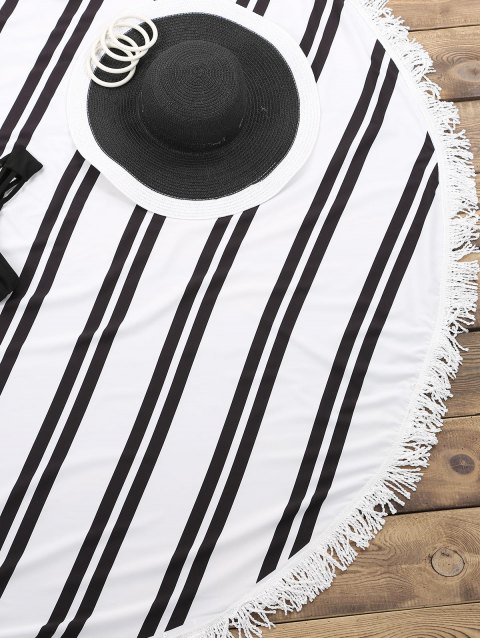 ladies Striped Round Beach Throw - WHITE AND BLACK ONE SIZE(FIT SIZE XS TO M) Mobile