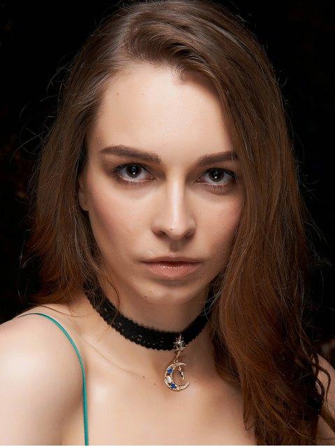 chic Rhinestone Moon Black Chokers Necklace - BLACK  Mobile