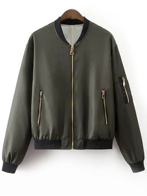fashion Zipper Up Stand Neck Long Sleeve Jacket - ARMY GREEN S Mobile