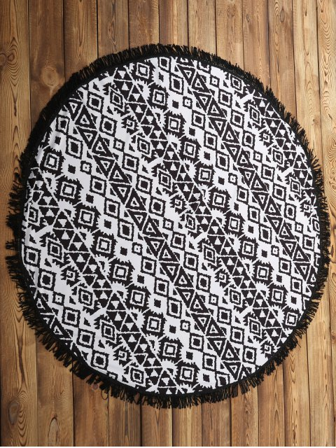 women's Geometric Print Beach Throw - WHITE AND BLACK ONE SIZE(FIT SIZE XS TO M) Mobile