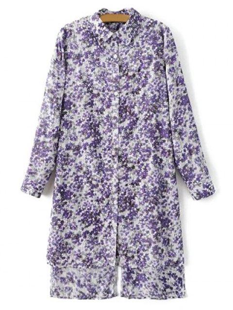 trendy High Low Hem Tiny Floral Print Shirt Dress - LIGHT PURPLE M Mobile