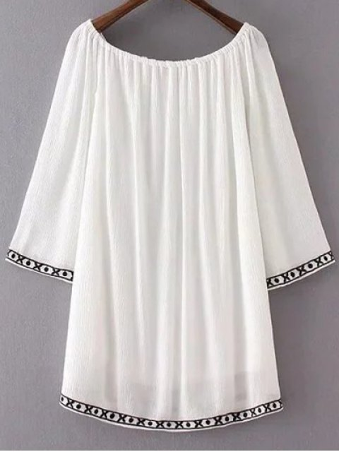 affordable Long Sleeve Embroidery Vintage Mini Dress - WHITE M Mobile