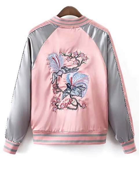 womens Glossy Embroidered Souvenir Jacket - PINK M Mobile