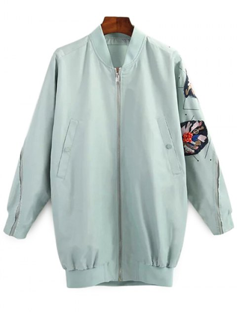 fancy Patched Green Jacket - GREEN S Mobile