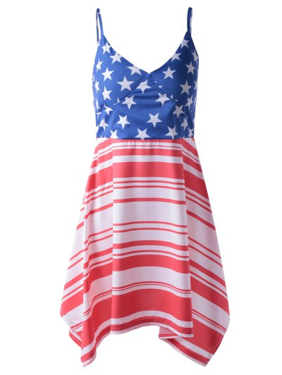 Fashionable Americana Flag Printing Spaghetti Strap Asymmetric Dress For Woman - Red And White And Blue