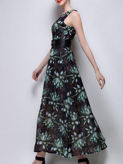 Floral Print Maxi Chiffon Dress - GREEN M Mobile