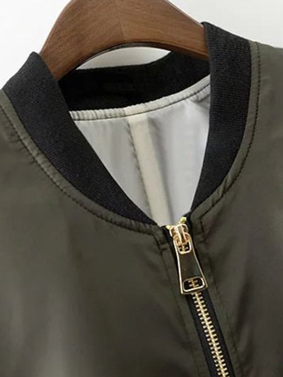 Zipper Up Stand Neck Long Sleeve Jacket - ARMY GREEN S Mobile