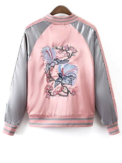 Glossy Embroidered Souvenir Jacket - PINK L Mobile