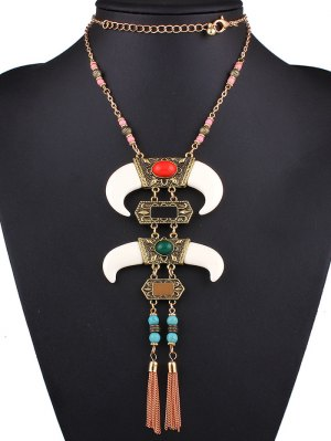 Faux Gem Horn Necklace