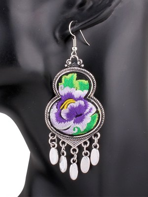 Flower Embroidery Gourd Earrings - Purple