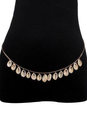 Fringed Shell Bikini Belly Chain - Golden