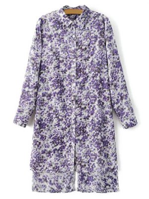 High Low Hem Tiny Floral Print Shirt Dress - Light Purple
